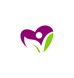 love heart green leaf vegan people logo vector image