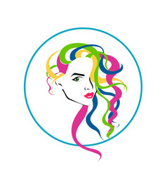 Lovely female face with colorful long hairstyle vector