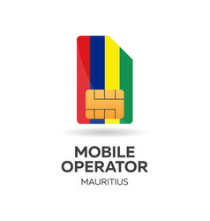Mauritius mobile operator sim card with flag vector