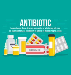 Medical antibiotic concept banner flat style vector