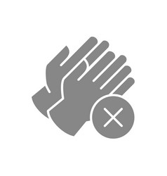 medical gloves with cross checkmark gray icon vector image