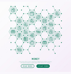 money concept in honeycombs with thin line icons vector image
