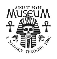 museum of ancient egypt emblem with pharaoh skull vector image