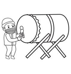 Muslim boys hitting bedug traditional drum vector