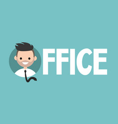 Office sign young successful manager icon flat vector
