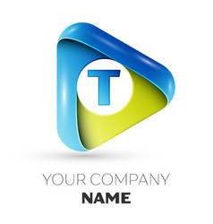Realistic letter t logo colorful triangle vector