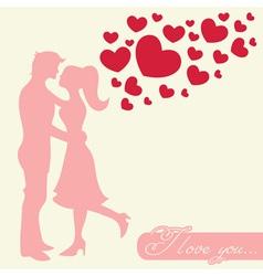 Romantic Valentine lovers silhouette vector image