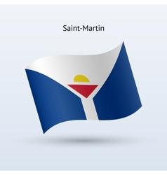 Saint-Martin flag waving form vector