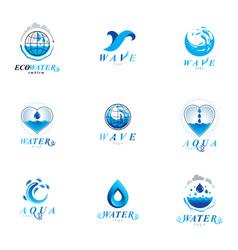 sea wave splash symbol water is life theme vector image