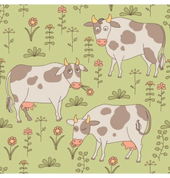 Seamless texture with cows bull and flowers vector image