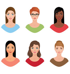 Set avatars women of different nationalities with vector