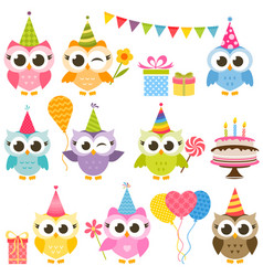 Set of cute colorful owls on birthday party vector
