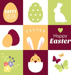 Set of happy easter design elements and vector image