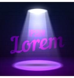 Shine effects on a dark grunge wall background vector