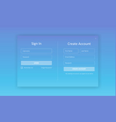 sign in and create account forms vector image
