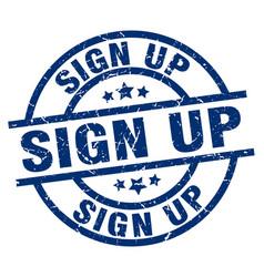 Sign up blue round grunge stamp vector