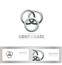 Silver joined circle logo vector