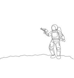 single continuous line drawing young astronaut vector image