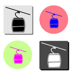 Ski cable lift flat icon vector