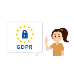 smiling girl with speech bubble gdpr vector image