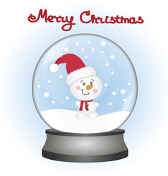 snowman in a snow globe christmas card vector image