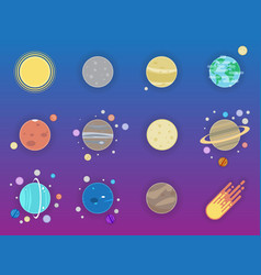 solar system icons - planets comet satellite of vector image