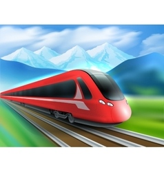 Speed Train Mountains Background Realistic Poster vector image