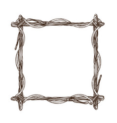 Square frame made of branches decorative outline vector