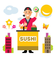 sushi chef flat style colorful cartoon vector image