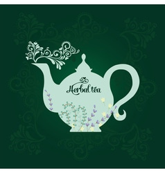 Teapot with herbs vector image