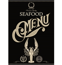 Template for restaurant menu with crawfish vector