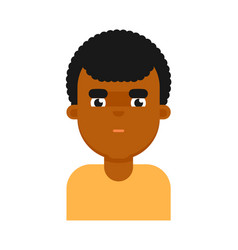 thoughtful facial expression of black boy avatar vector image vector image