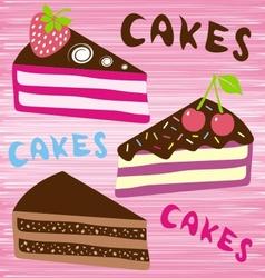 three slices cake vector image