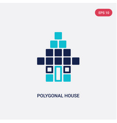 Two color polygonal house or home building icon vector