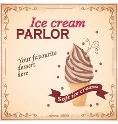Vintage banner ice cream parlor vector