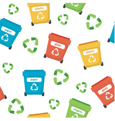 waste sorting pattern with different colorful vector image