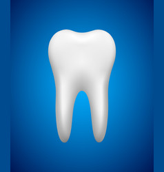 White tooth on blue background stomatology icon vector