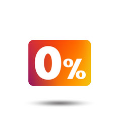 zero percent sign icon zero credit symbol vector image