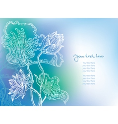 blue background with lily flowers vector image vector image