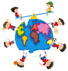 boy doing different activities around the world vector image vector image