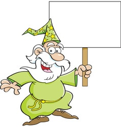 Cartoon wizard holding a sign vector image