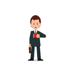 happy businessman in suit with briefcase holding vector image
