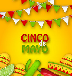 holiday celebration poster for cinco de mayo vector image