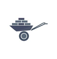 Icon of wheelbarrow with bricks vector image