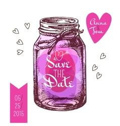 Save the date card Wedding invitation Rustic mason vector image