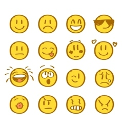 Set of hand drawn smiles on white background vector image vector image