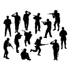 soldier silhouettes vector image