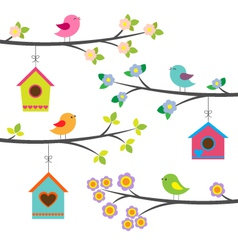 Birds and birdhouses vector image vector image