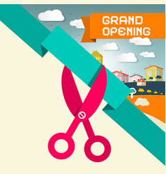 Grand Opening Title with Scissors and Town vector image vector image