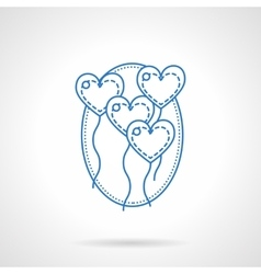 Heart balloons blue flat line icon vector image